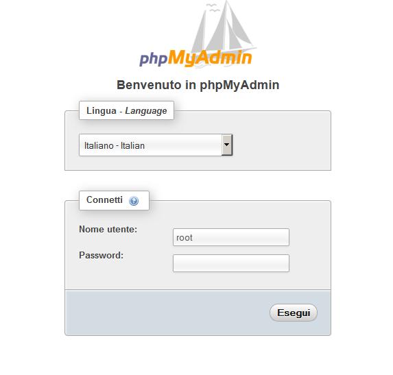 Immagine del pannello di controllo phpmyadmin