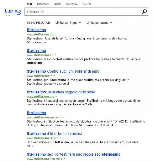 Classifica Stellissimo su Bing