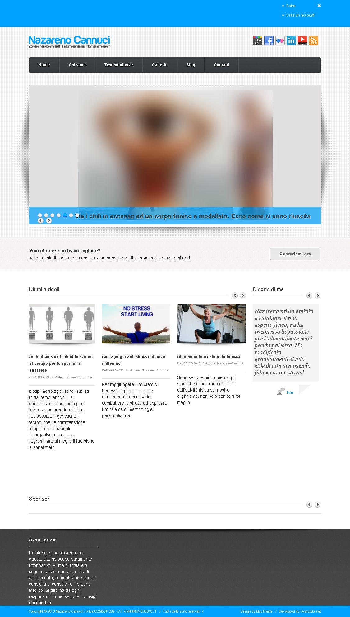 Immagine del sito web che ho realizzato per Nazareno Cannuci - Personal trainer a Bologna