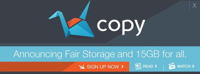 Immagine del logo di Copy.com, una interessante alternativa a Dropbox per condividere, sincronizzare i tuoi file su più pc