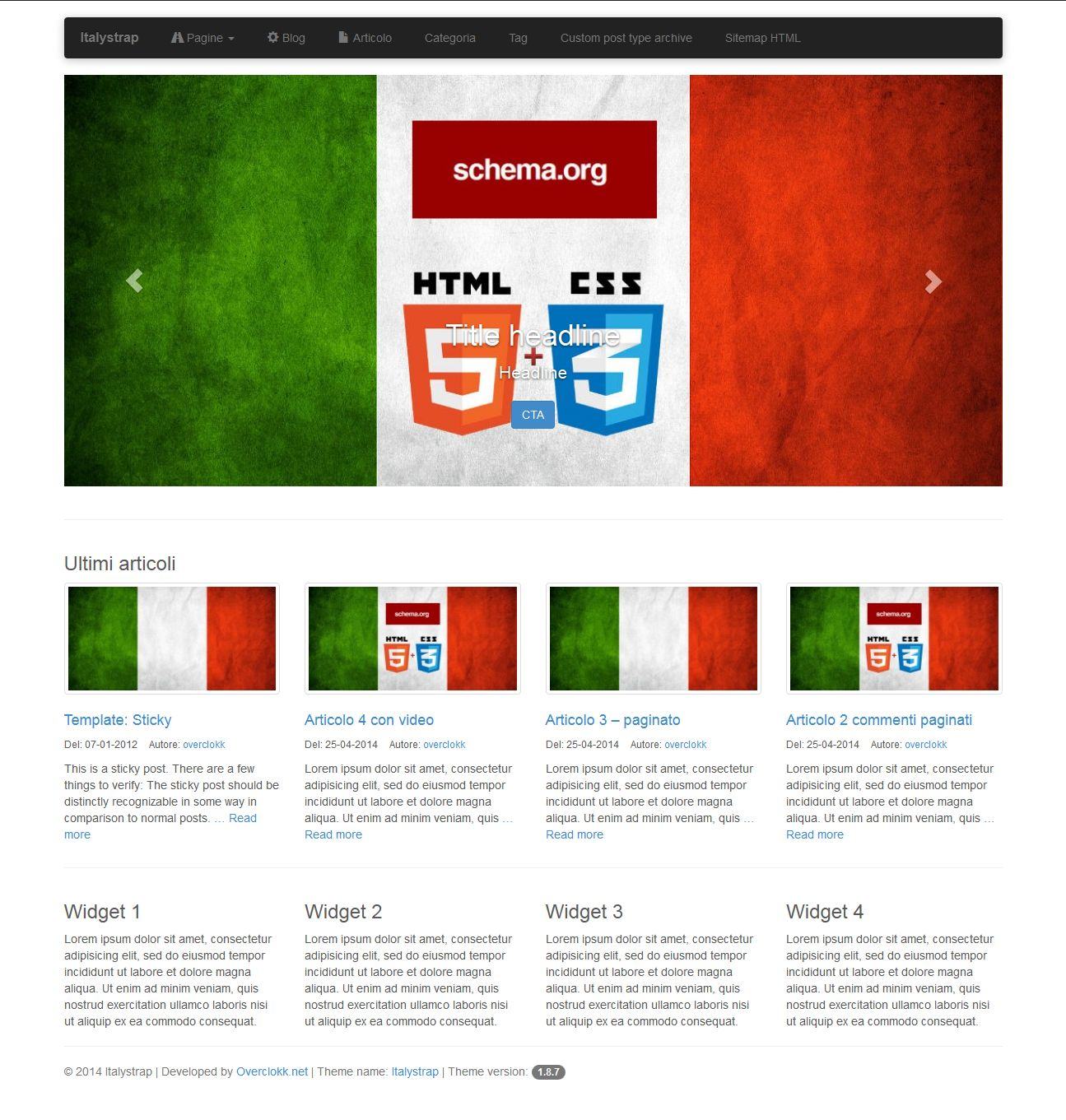 Screenshot del nuovo template per wordpress ItalyStrap