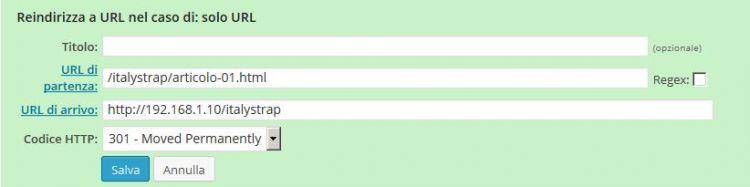 Redirection configurazione solo URL