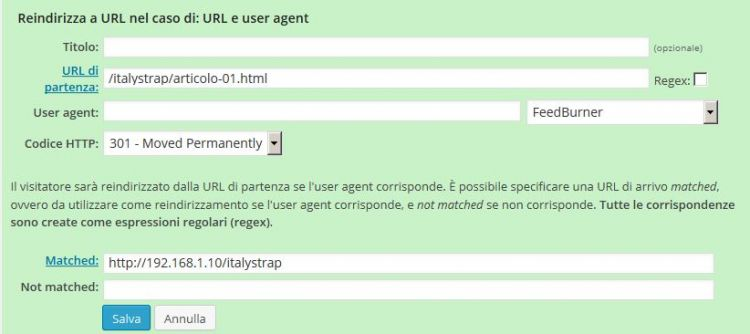 Redirection impostazioni URL e user agent