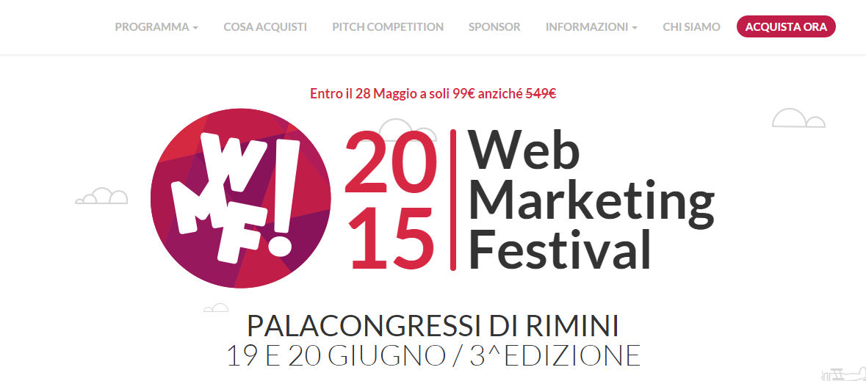 Immagine dello screen shot del sito Web Marketing Festival 2015 dove sarò relatore
